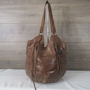 The Sak Brown Distressed Leather Boho Chic Hobo